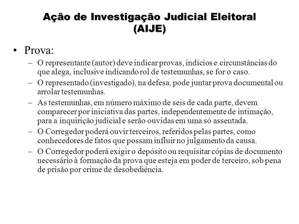 Ação de Investigação Judicial Eleitoral (AIJE) Prova: –O representante (autor) deve indicar provas, indícios e circunstâncias do que alega, inclusive