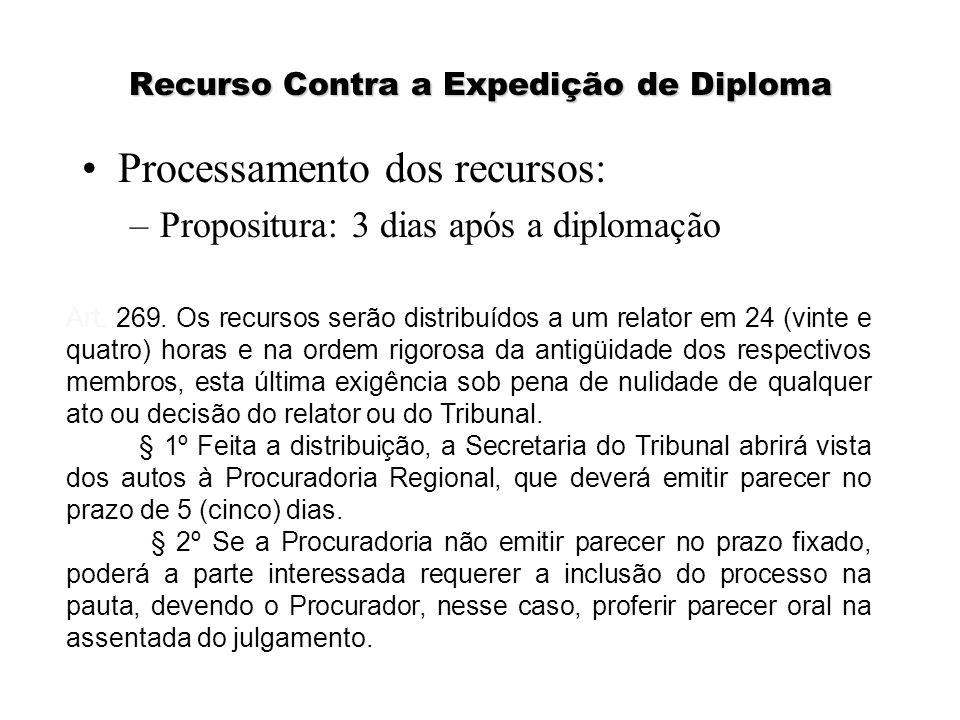 Recurso Contra a Expedição de Diploma Processamento dos recursos: –Propositura: 3 dias após a diplomação Art. 269. Os recursos serão distribuídos a um