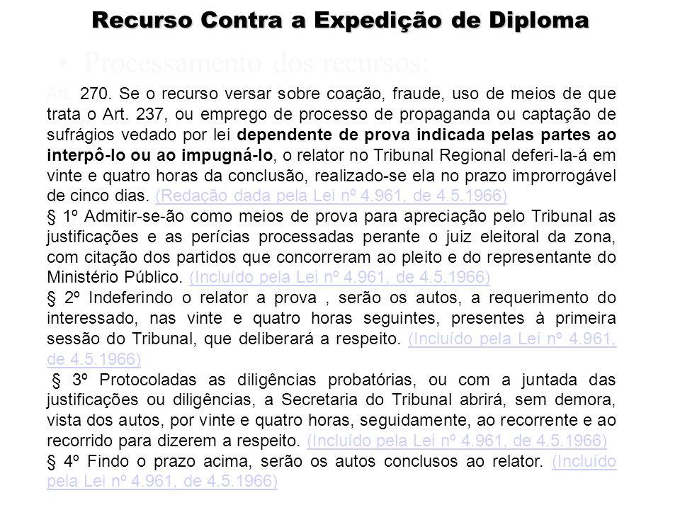 Recurso Contra a Expedição de Diploma Processamento dos recursos: Art. 270. Se o recurso versar sobre coação, fraude, uso de meios de que trata o Art.