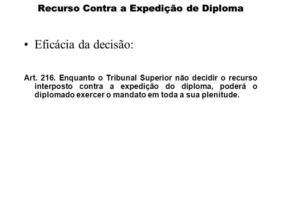 Recurso Contra a Expedição de Diploma Eficácia da decisão: Art. 216. Enquanto o Tribunal Superior não decidir o recurso interposto contra a expedição