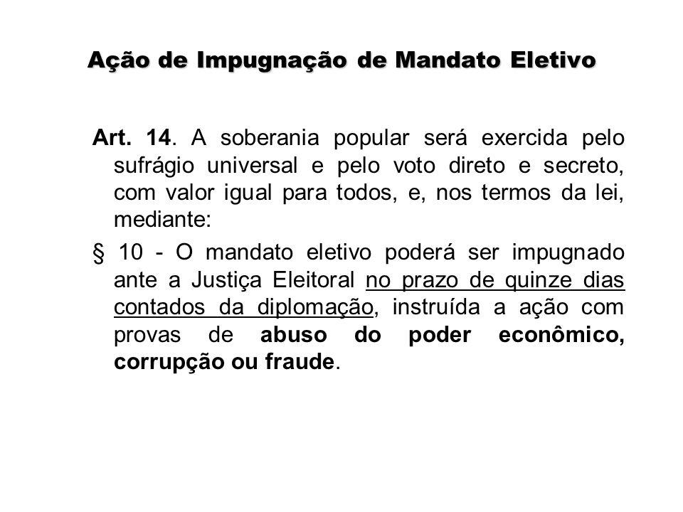 Ação de Impugnação de Mandato Eletivo Art. 14. A soberania popular será exercida pelo sufrágio universal e pelo voto direto e secreto, com valor igual