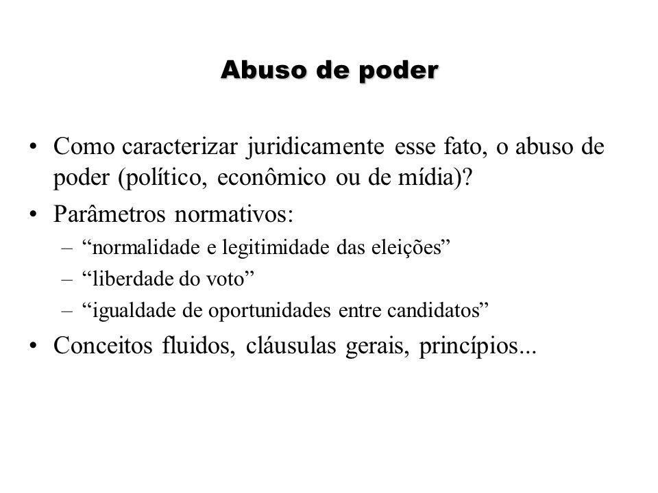 """Abuso de poder Como caracterizar juridicamente esse fato, o abuso de poder (político, econômico ou de mídia)? Parâmetros normativos: –""""normalidade e l"""