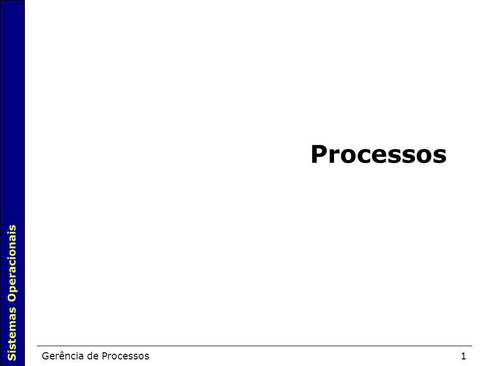 Sistemas Operacionais Gerência de Processos1 Processos