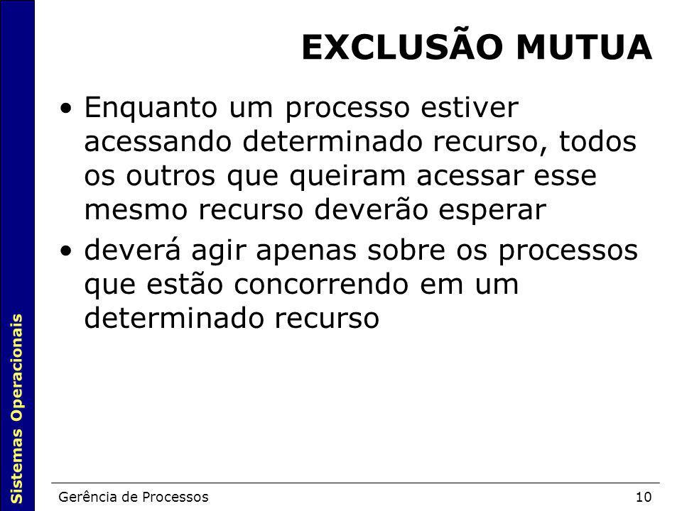 Sistemas Operacionais Gerência de Processos10 EXCLUSÃO MUTUA Enquanto um processo estiver acessando determinado recurso, todos os outros que queiram a