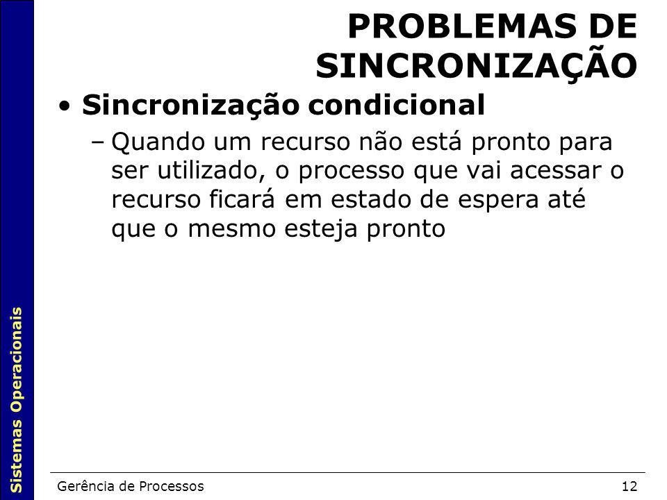 Sistemas Operacionais Gerência de Processos12 PROBLEMAS DE SINCRONIZAÇÃO Sincronização condicional –Quando um recurso não está pronto para ser utiliza