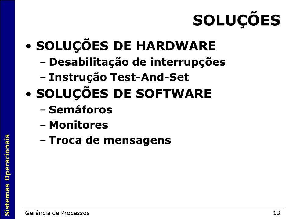 Sistemas Operacionais Gerência de Processos13 SOLUÇÕES SOLUÇÕES DE HARDWARE –Desabilitação de interrupções –Instrução Test-And-Set SOLUÇÕES DE SOFTWAR