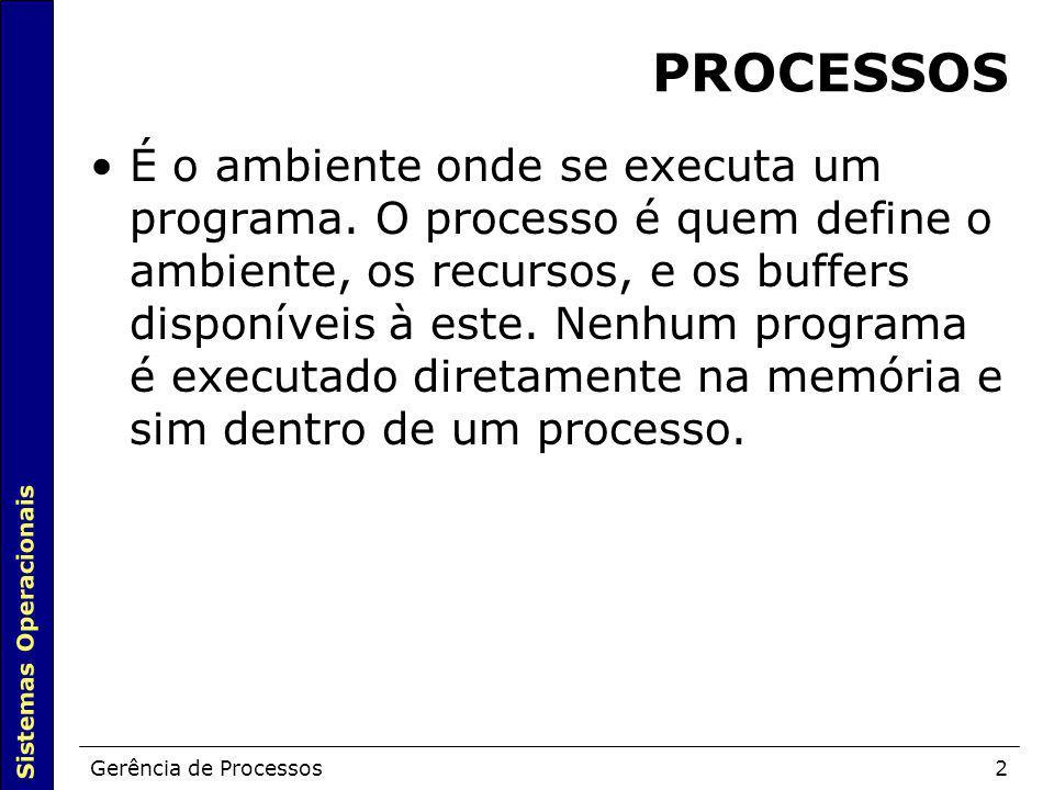 Sistemas Operacionais Gerência de Processos2 PROCESSOS É o ambiente onde se executa um programa. O processo é quem define o ambiente, os recursos, e o