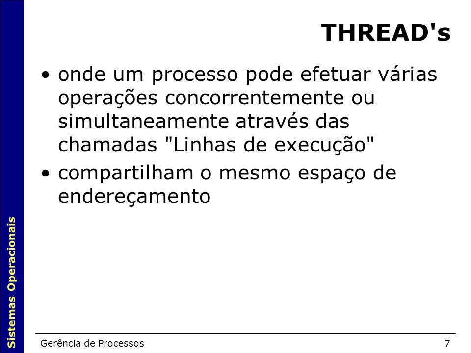 Sistemas Operacionais Gerência de Processos7 THREAD's onde um processo pode efetuar várias operações concorrentemente ou simultaneamente através das c