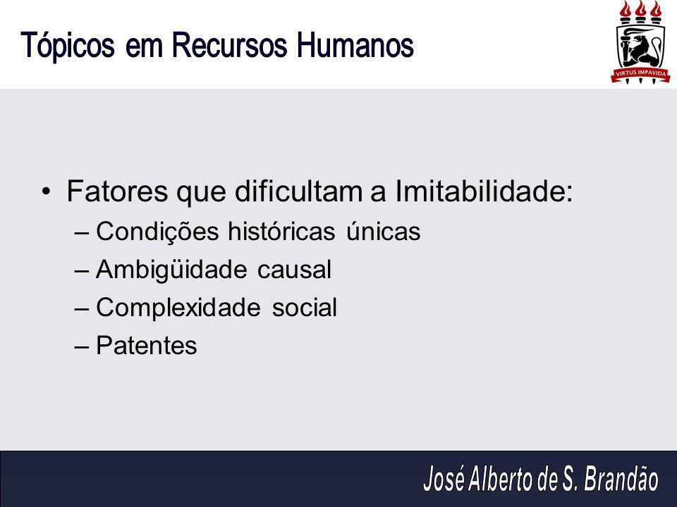 Fatores que dificultam a Imitabilidade: –Condições históricas únicas –Ambigüidade causal –Complexidade social –Patentes