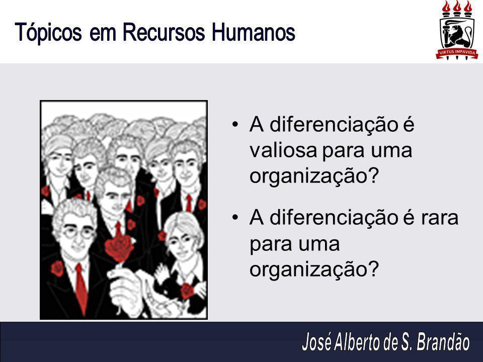 A diferenciação é valiosa para uma organização? A diferenciação é rara para uma organização?
