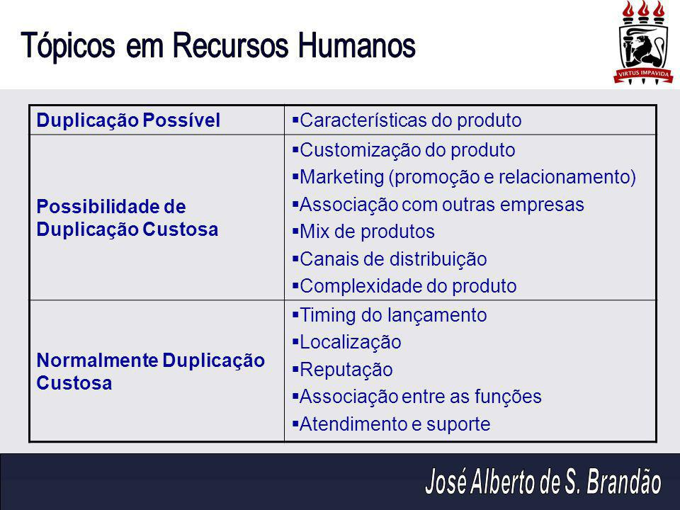 Duplicação Possível  Características do produto Possibilidade de Duplicação Custosa  Customização do produto  Marketing (promoção e relacionamento)