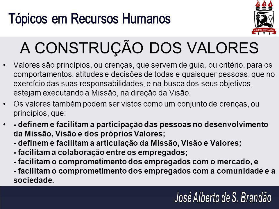 A CONSTRUÇÃO DOS VALORES Valores são princípios, ou crenças, que servem de guia, ou critério, para os comportamentos, atitudes e decisões de todas e q