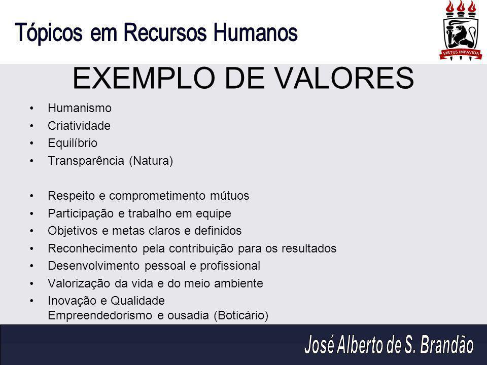 EXEMPLO DE VALORES Humanismo Criatividade Equilíbrio Transparência (Natura) Respeito e comprometimento mútuos Participação e trabalho em equipe Objeti