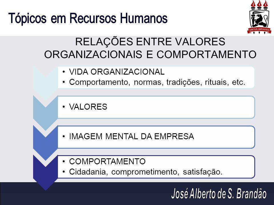 RELAÇÕES ENTRE VALORES ORGANIZACIONAIS E COMPORTAMENTO VIDA ORGANIZACIONAL Comportamento, normas, tradições, rituais, etc. VALORESIMAGEM MENTAL DA EMP