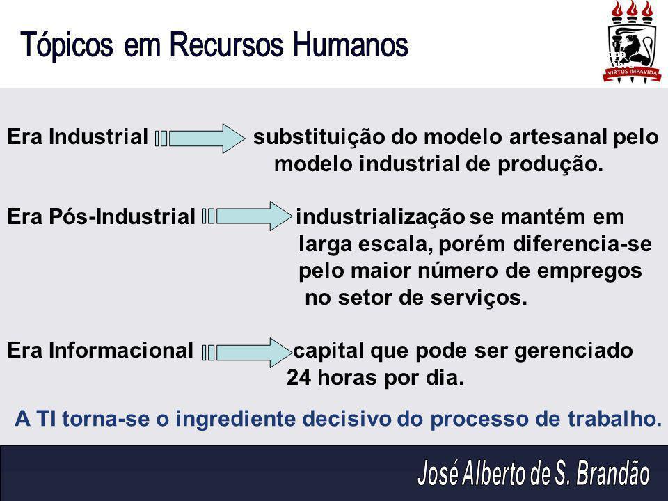 Era Industrial substituição do modelo artesanal pelo modelo industrial de produção. Era Pós-Industrial industrialização se mantém em larga escala, por
