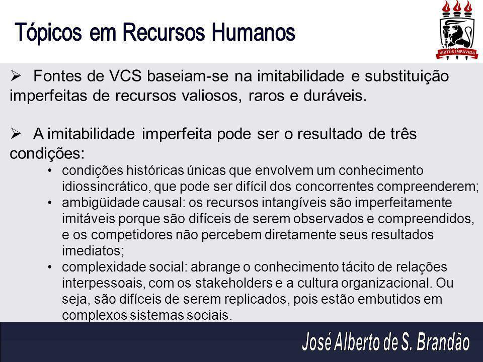  Fontes de VCS baseiam-se na imitabilidade e substituição imperfeitas de recursos valiosos, raros e duráveis.  A imitabilidade imperfeita pode ser o