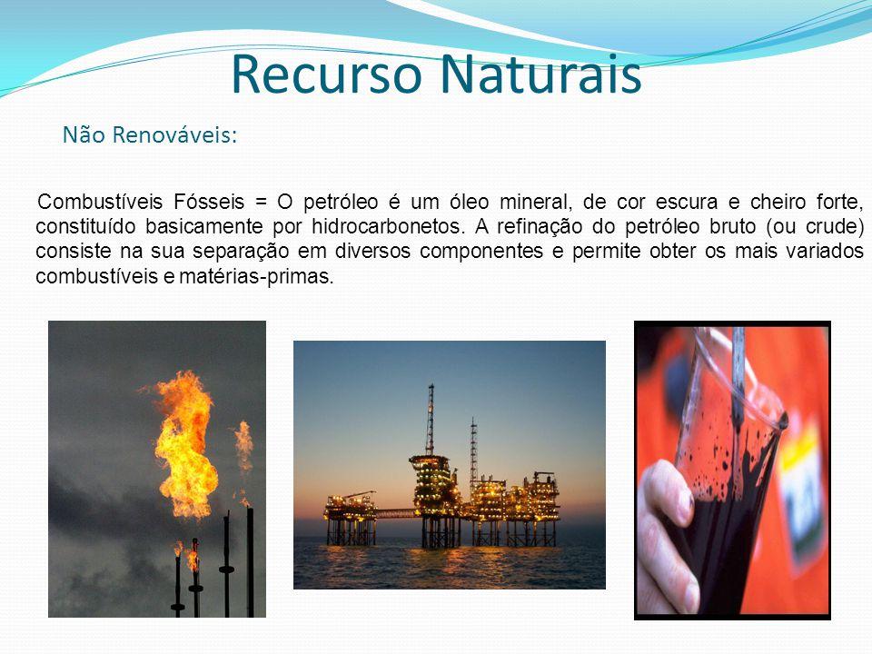 Combustíveis Fósseis = O petróleo é um óleo mineral, de cor escura e cheiro forte, constituído basicamente por hidrocarbonetos. A refinação do petróle