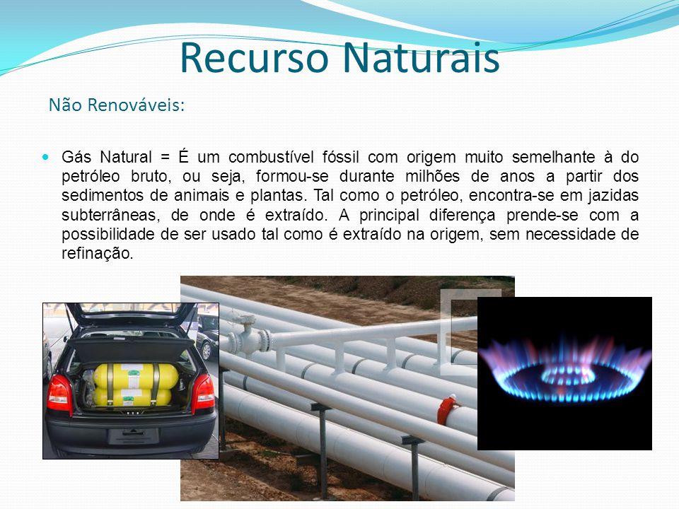 Gás Natural = É um combustível fóssil com origem muito semelhante à do petróleo bruto, ou seja, formou-se durante milhões de anos a partir dos sedimen