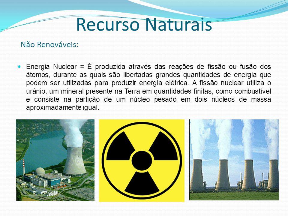 Energia Nuclear = É produzida através das reações de fissão ou fusão dos átomos, durante as quais são libertadas grandes quantidades de energia que podem ser utilizadas para produzir energia elétrica.