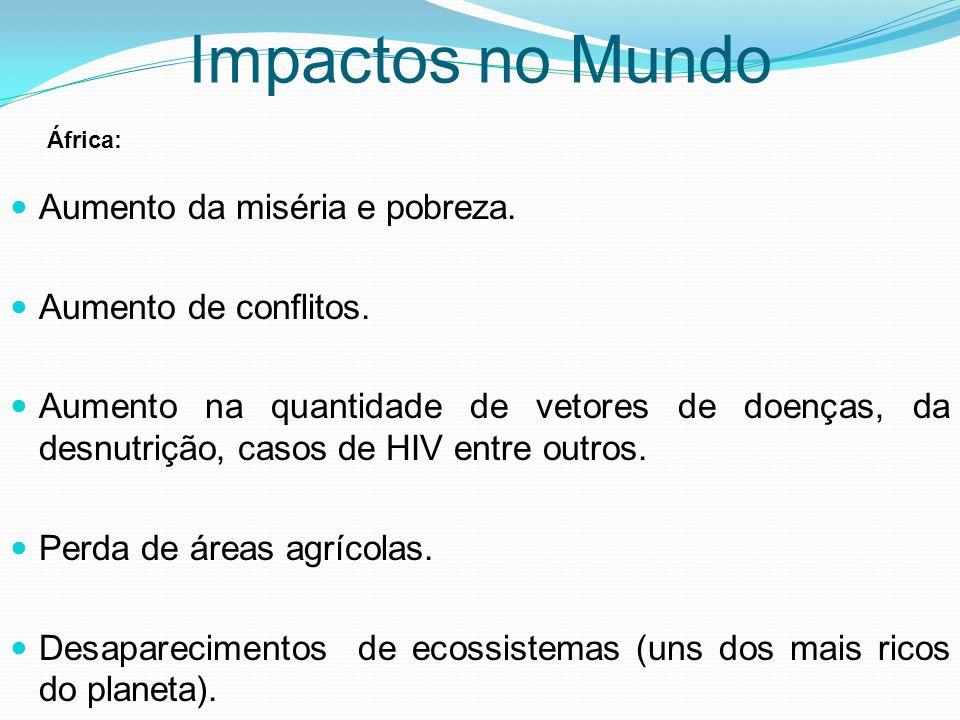 Aumento da miséria e pobreza. Aumento de conflitos. Aumento na quantidade de vetores de doenças, da desnutrição, casos de HIV entre outros. Perda de á