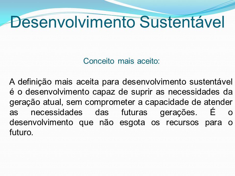 A definição mais aceita para desenvolvimento sustentável é o desenvolvimento capaz de suprir as necessidades da geração atual, sem comprometer a capacidade de atender as necessidades das futuras gerações.