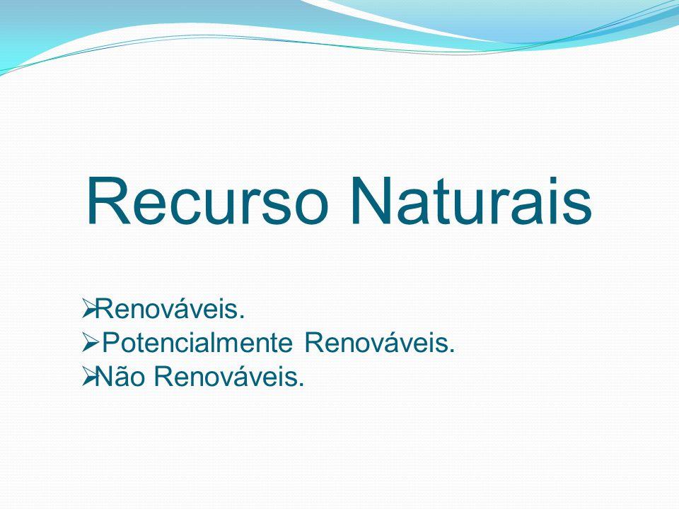 Recurso Naturais  Renováveis.  Potencialmente Renováveis.  Não Renováveis.