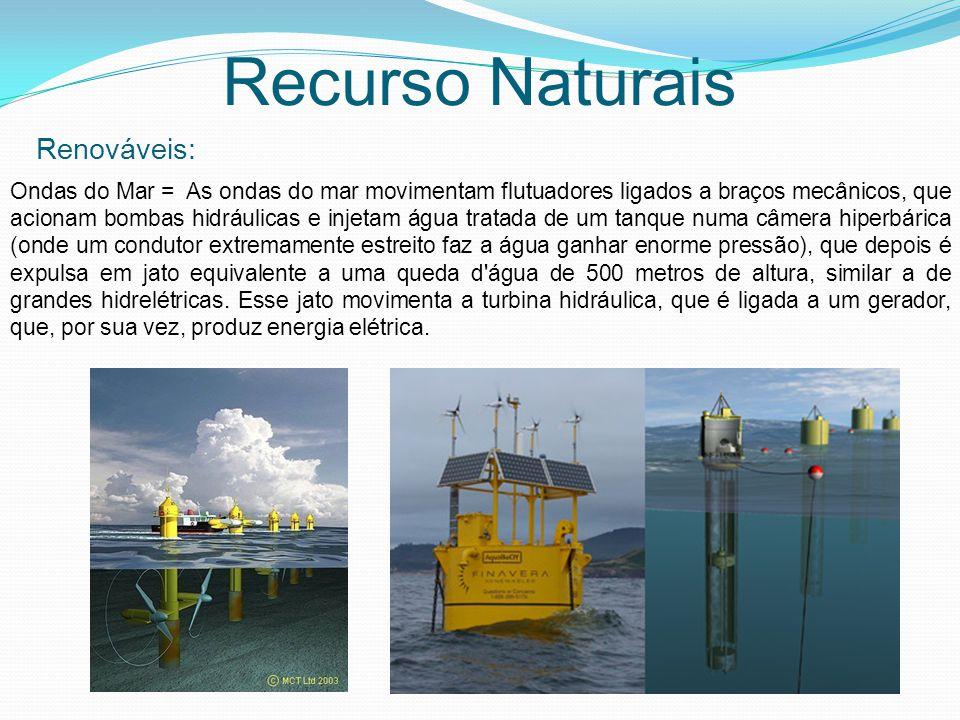 Recurso Naturais Renováveis: Ondas do Mar = As ondas do mar movimentam flutuadores ligados a braços mecânicos, que acionam bombas hidráulicas e injeta