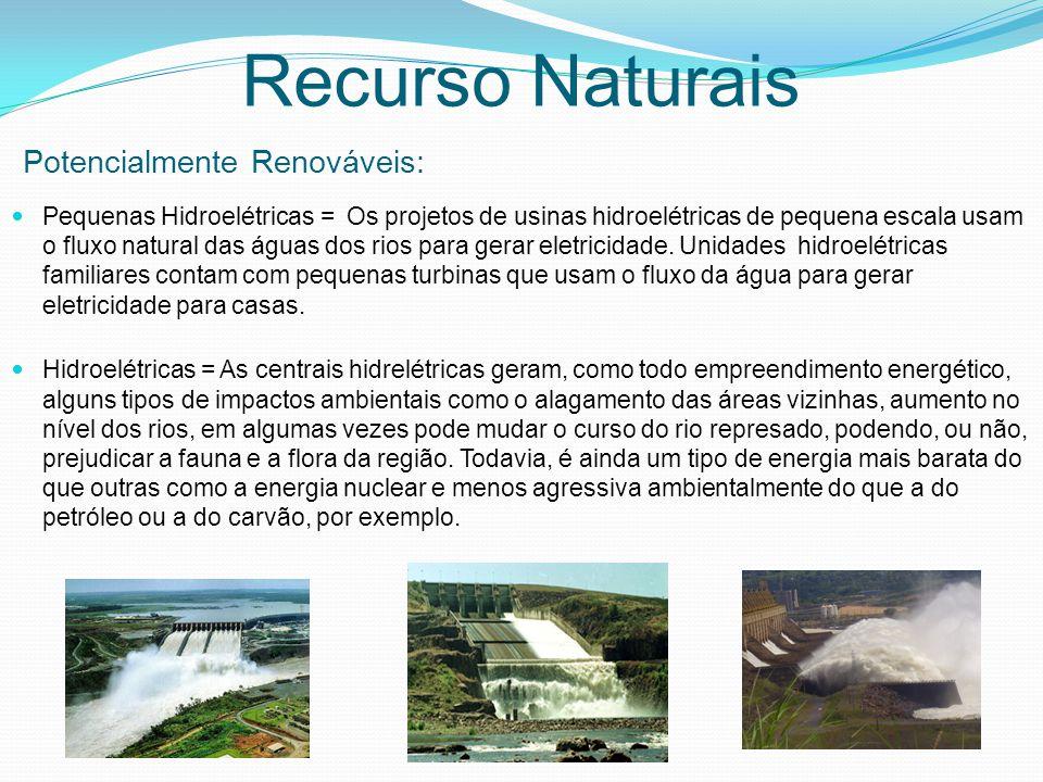 Pequenas Hidroelétricas = Os projetos de usinas hidroelétricas de pequena escala usam o fluxo natural das águas dos rios para gerar eletricidade.