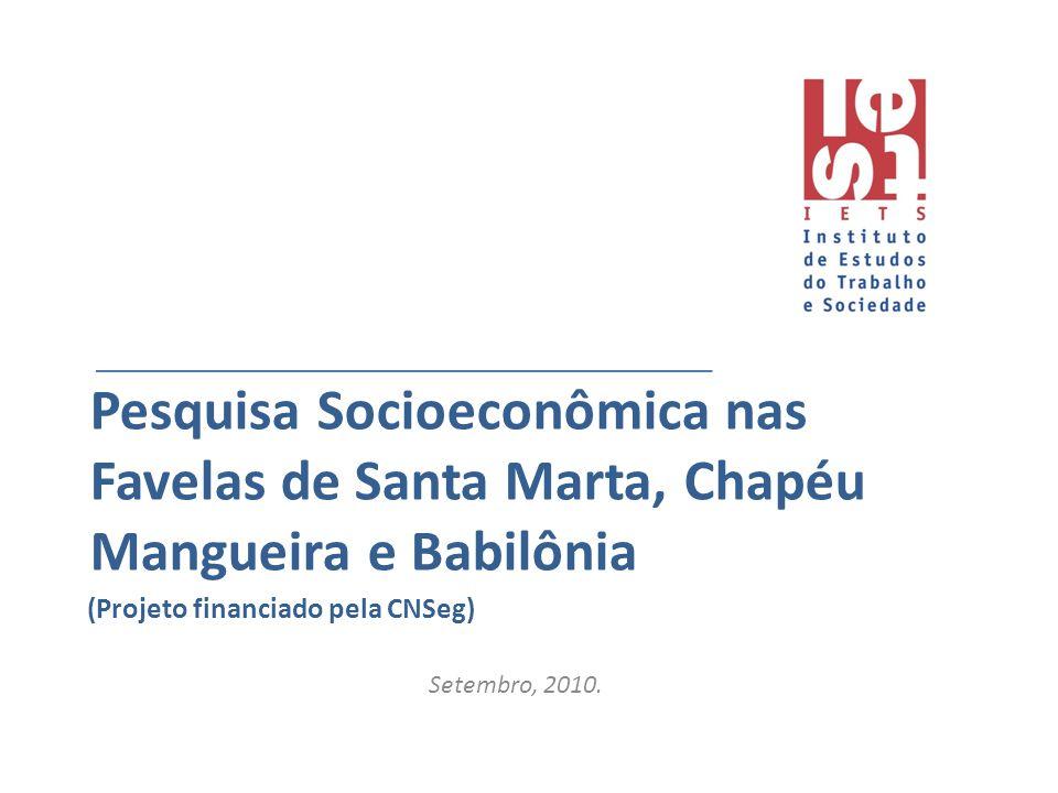 Pesquisa Socioeconômica nas Favelas de Santa Marta, Chapéu Mangueira e Babilônia Setembro, 2010. (Projeto financiado pela CNSeg)