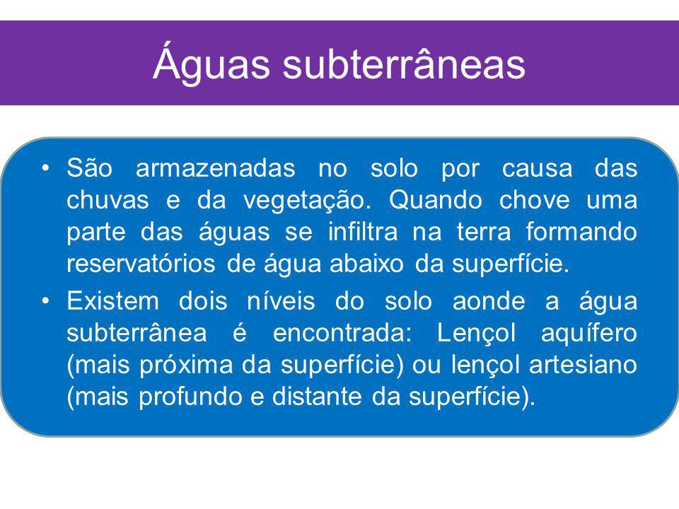 Águas subterrâneas São armazenadas no solo por causa das chuvas e da vegetação.