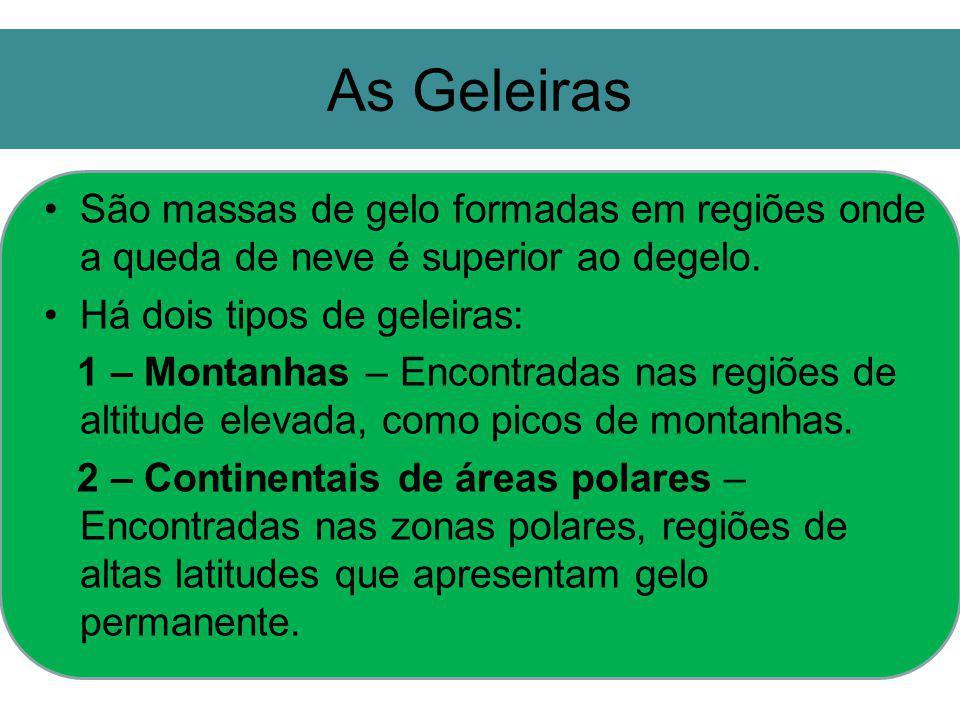 As Geleiras São massas de gelo formadas em regiões onde a queda de neve é superior ao degelo. Há dois tipos de geleiras: 1 – Montanhas – Encontradas n
