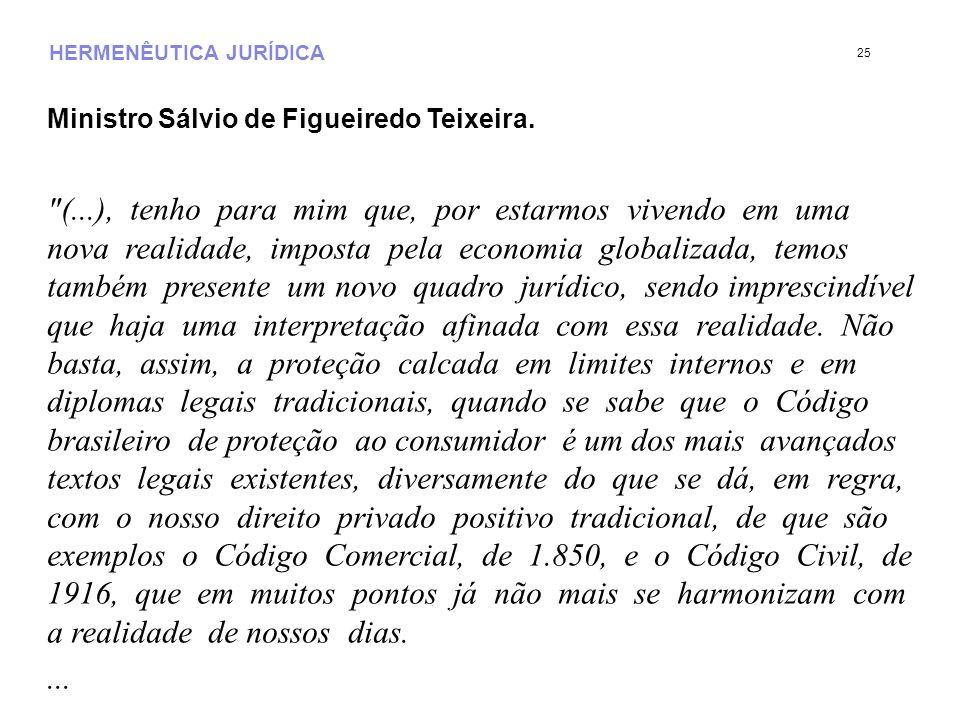 HERMENÊUTICA JURÍDICA Ministro Sálvio de Figueiredo Teixeira.