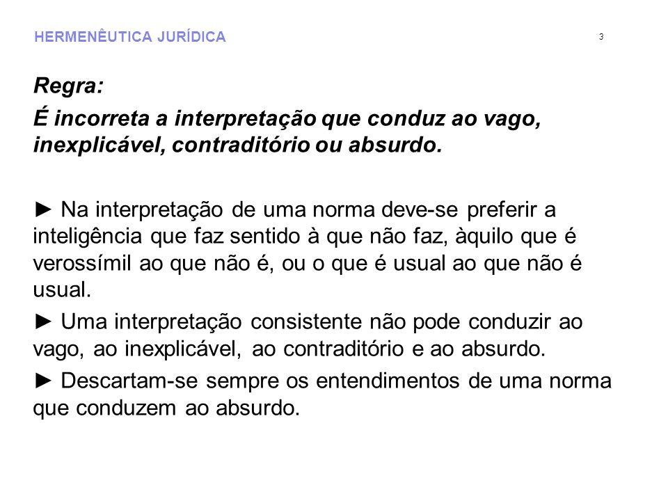 HERMENÊUTICA JURÍDICA Regra: É incorreta a interpretação que conduz ao vago, inexplicável, contraditório ou absurdo.