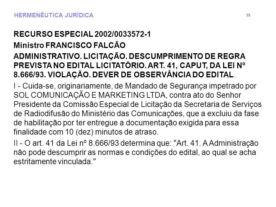 HERMENÊUTICA JURÍDICA RECURSO ESPECIAL 2002/0033572-1 Ministro FRANCISCO FALCÃO ADMINISTRATIVO.