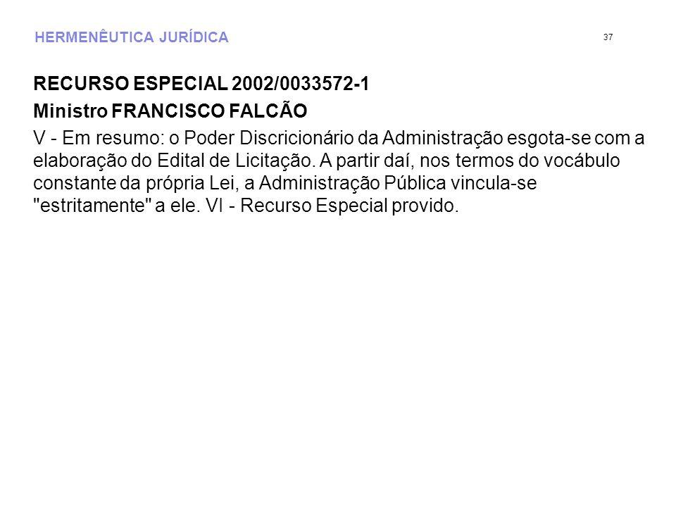 HERMENÊUTICA JURÍDICA RECURSO ESPECIAL 2002/0033572-1 Ministro FRANCISCO FALCÃO V - Em resumo: o Poder Discricionário da Administração esgota-se com a elaboração do Edital de Licitação.