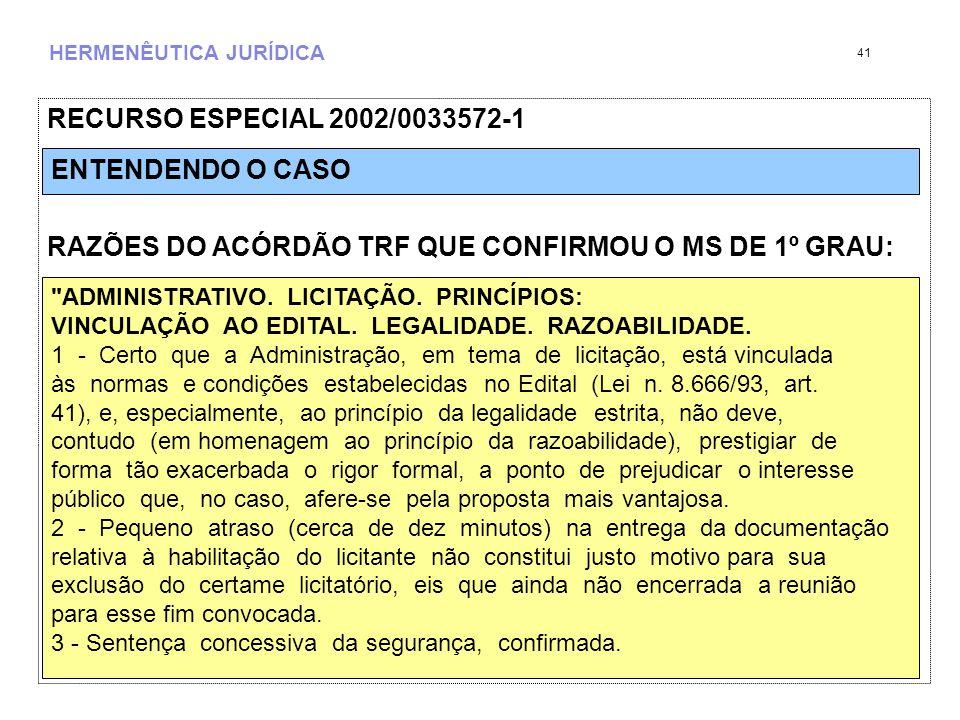 HERMENÊUTICA JURÍDICA RECURSO ESPECIAL 2002/0033572-1 RAZÕES DO ACÓRDÃO TRF QUE CONFIRMOU O MS DE 1º GRAU: 41 ADMINISTRATIVO.