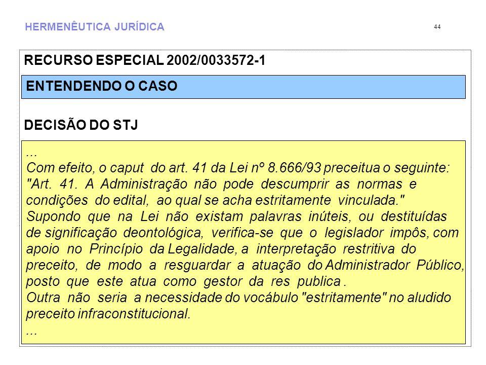 HERMENÊUTICA JURÍDICA RECURSO ESPECIAL 2002/0033572-1 DECISÃO DO STJ 44...
