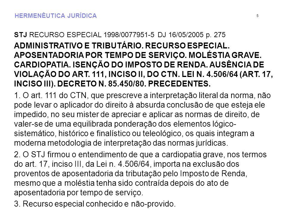HERMENÊUTICA JURÍDICA Lei Nº 4.506/1964.