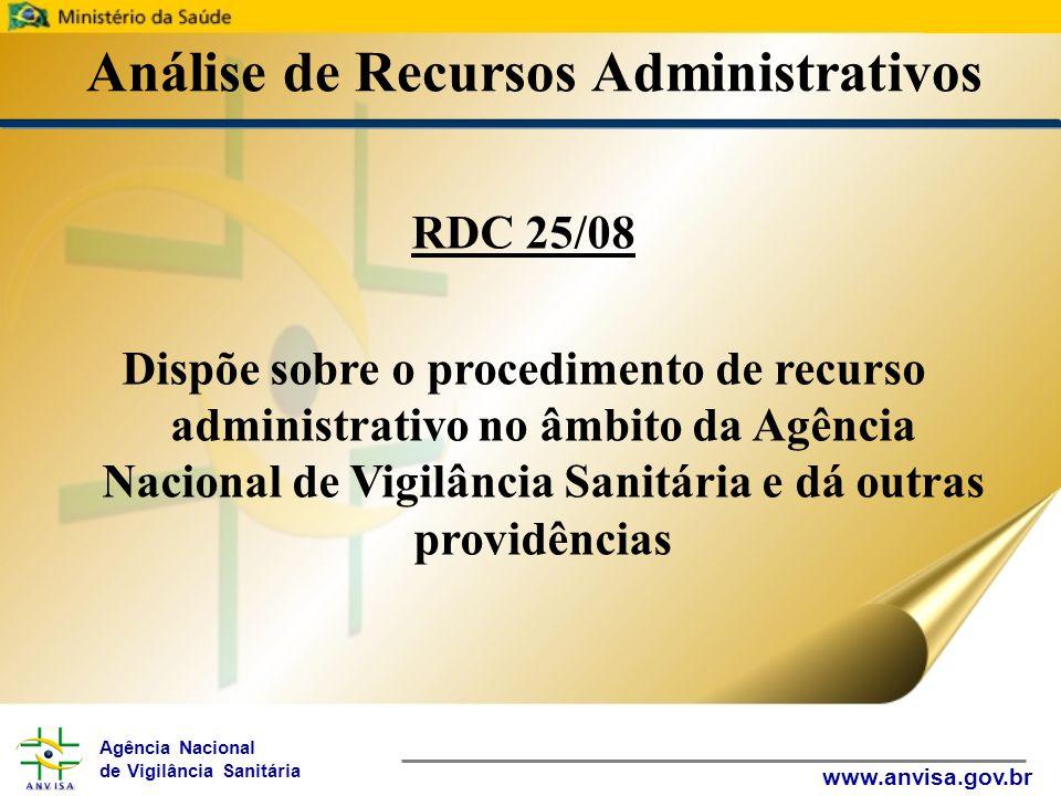 Agência Nacional de Vigilância Sanitária www.anvisa.gov.br Análise de Recursos Administrativos RDC 25/08 Dispõe sobre o procedimento de recurso administrativo no âmbito da Agência Nacional de Vigilância Sanitária e dá outras providências