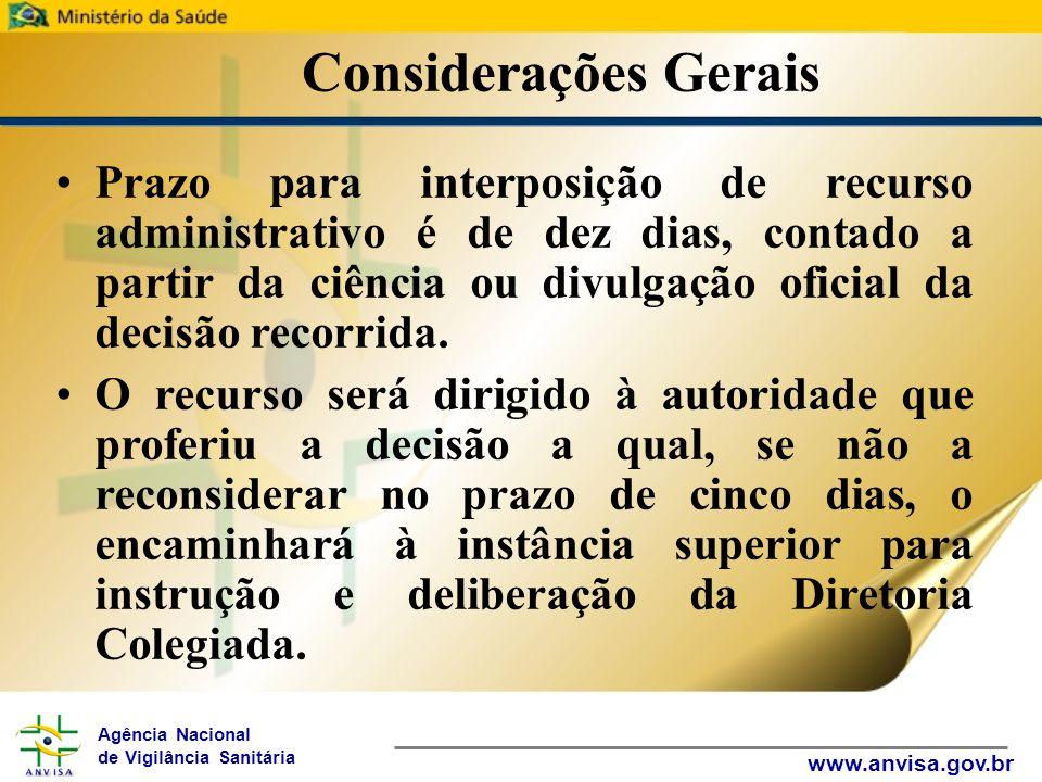 Agência Nacional de Vigilância Sanitária www.anvisa.gov.br Considerações Gerais Prazo para interposição de recurso administrativo é de dez dias, contado a partir da ciência ou divulgação oficial da decisão recorrida.