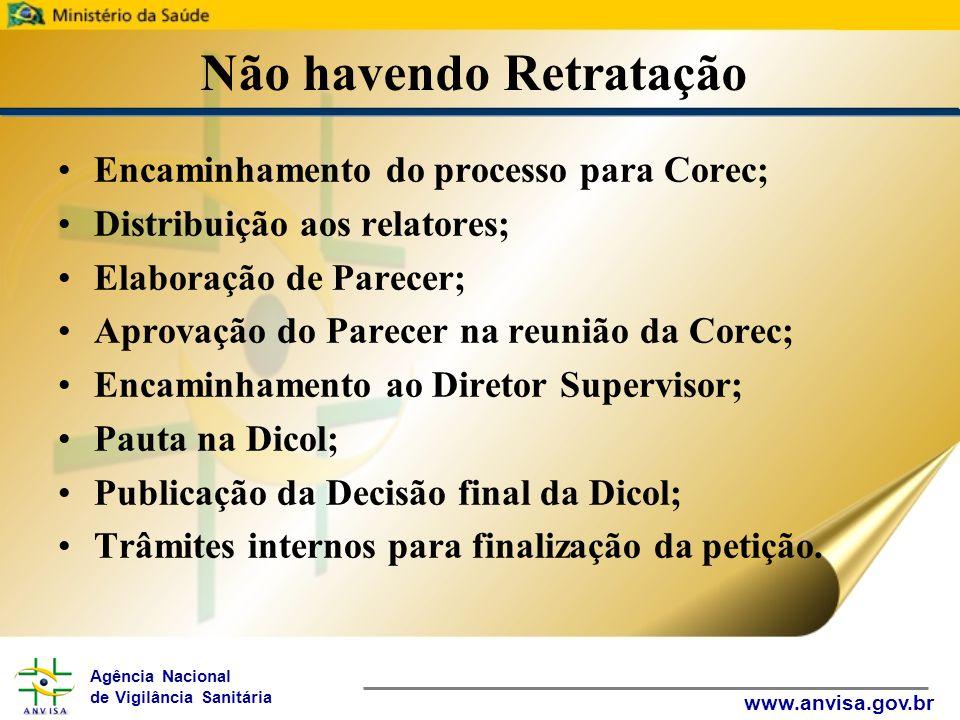 Agência Nacional de Vigilância Sanitária www.anvisa.gov.br Não havendo Retratação Encaminhamento do processo para Corec; Distribuição aos relatores; E