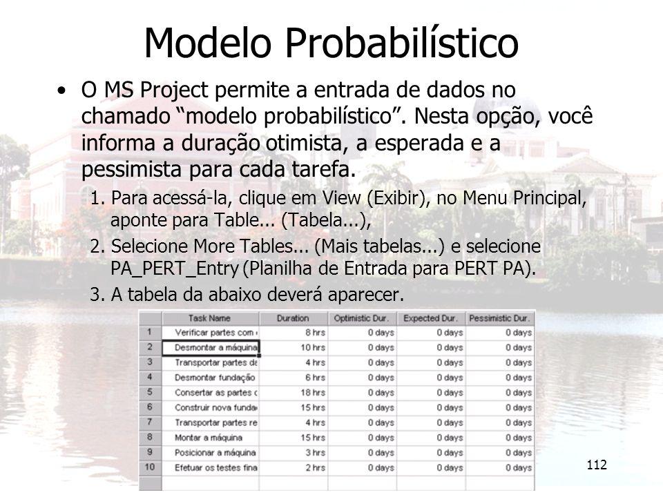 """112 Modelo Probabilístico O MS Project permite a entrada de dados no chamado """"modelo probabilístico"""". Nesta opção, você informa a duração otimista, a"""