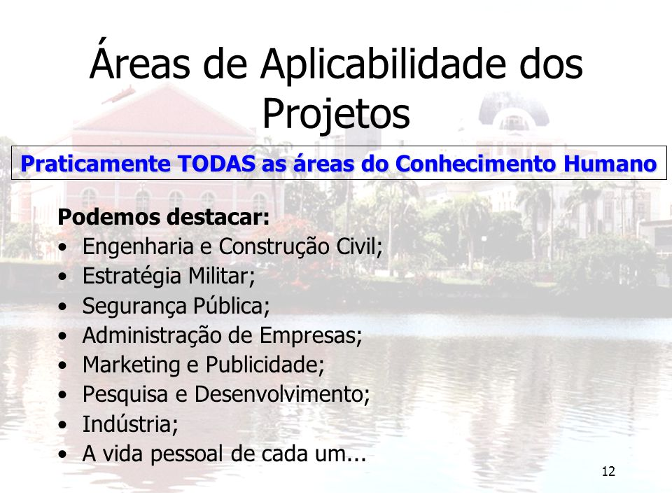 12 Áreas de Aplicabilidade dos Projetos Podemos destacar: Engenharia e Construção Civil; Estratégia Militar; Segurança Pública; Administração de Empre