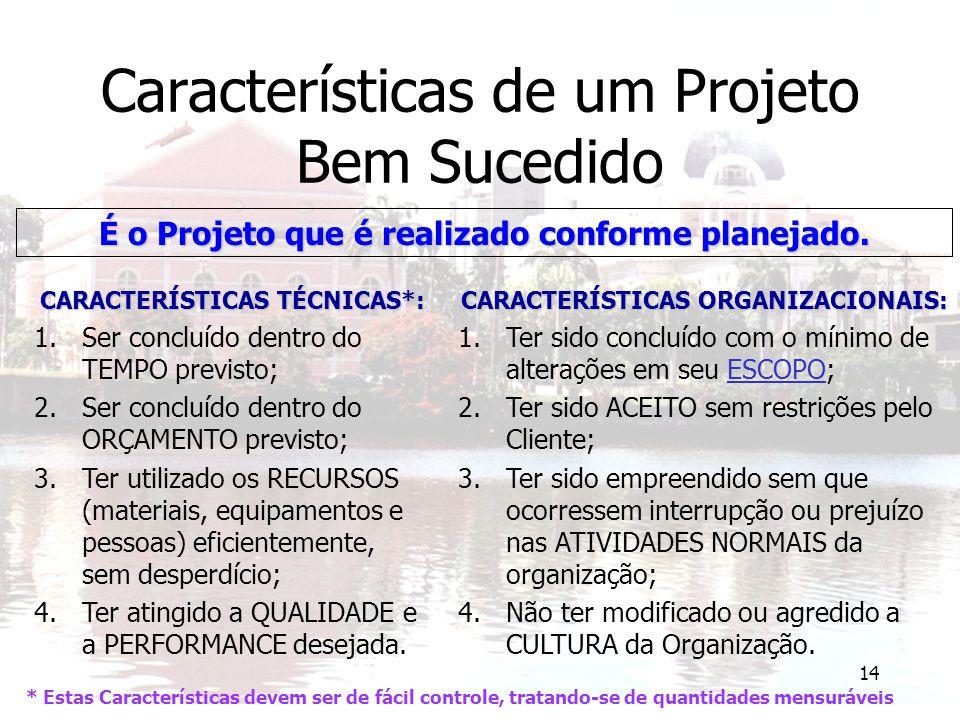 14 Características de um Projeto Bem Sucedido É o Projeto que é realizado conforme planejado. CARACTERÍSTICAS TÉCNICAS*: 1.Ser concluído dentro do TEM