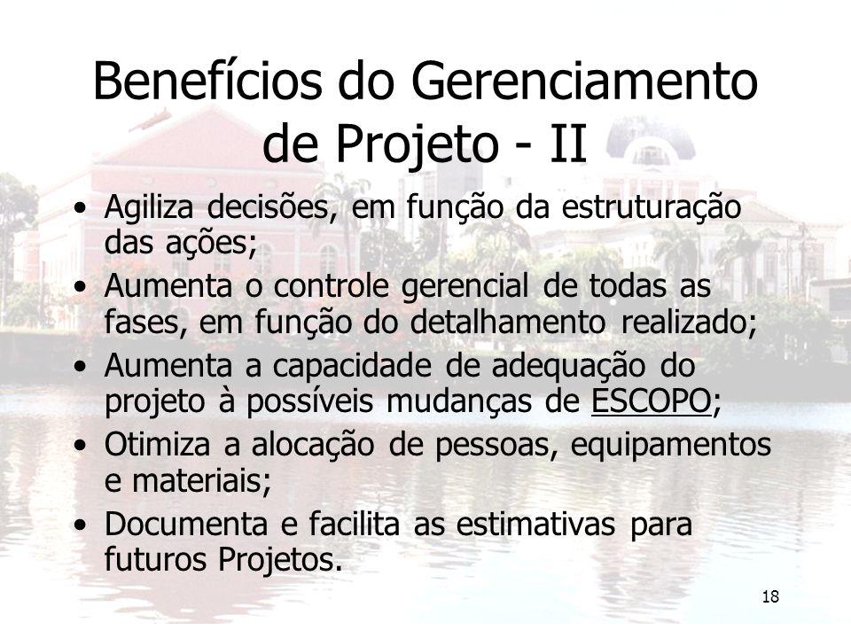 18 Benefícios do Gerenciamento de Projeto - II Agiliza decisões, em função da estruturação das ações; Aumenta o controle gerencial de todas as fases, em função do detalhamento realizado; Aumenta a capacidade de adequação do projeto à possíveis mudanças de ESCOPO; Otimiza a alocação de pessoas, equipamentos e materiais; Documenta e facilita as estimativas para futuros Projetos.