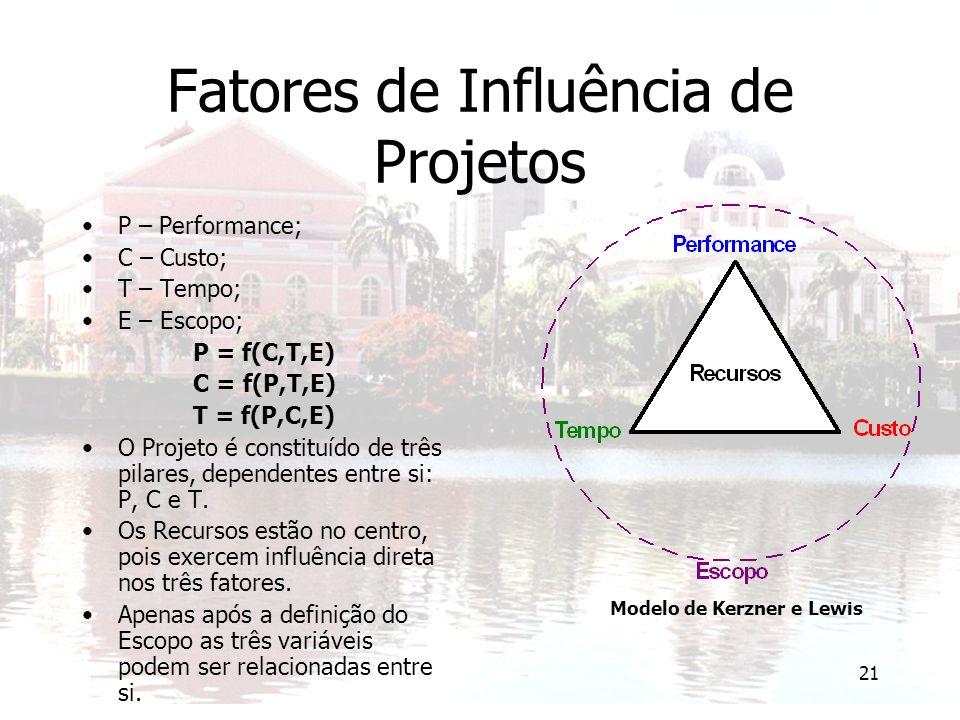 21 Fatores de Influência de Projetos P – Performance; C – Custo; T – Tempo; E – Escopo; P = f(C,T,E) C = f(P,T,E) T = f(P,C,E) O Projeto é constituído de três pilares, dependentes entre si: P, C e T.
