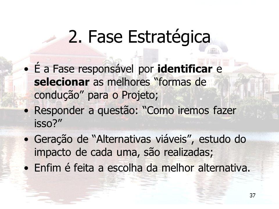 """37 2. Fase Estratégica É a Fase responsável por identificar e selecionar as melhores """"formas de condução"""" para o Projeto; Responder a questão: """"Como i"""