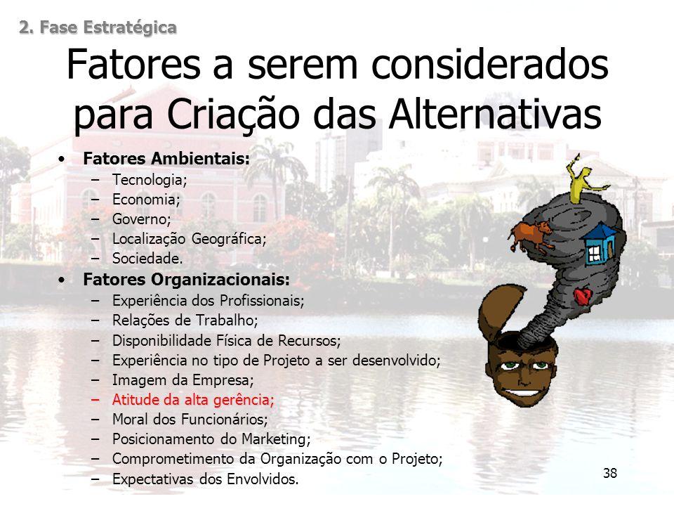 38 Fatores a serem considerados para Criação das Alternativas Fatores Ambientais: –Tecnologia; –Economia; –Governo; –Localização Geográfica; –Sociedad
