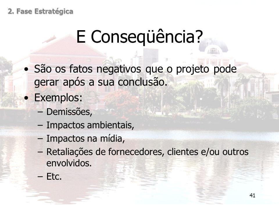 41 E Conseqüência? São os fatos negativos que o projeto pode gerar após a sua conclusão. Exemplos: –Demissões, –Impactos ambientais, –Impactos na mídi
