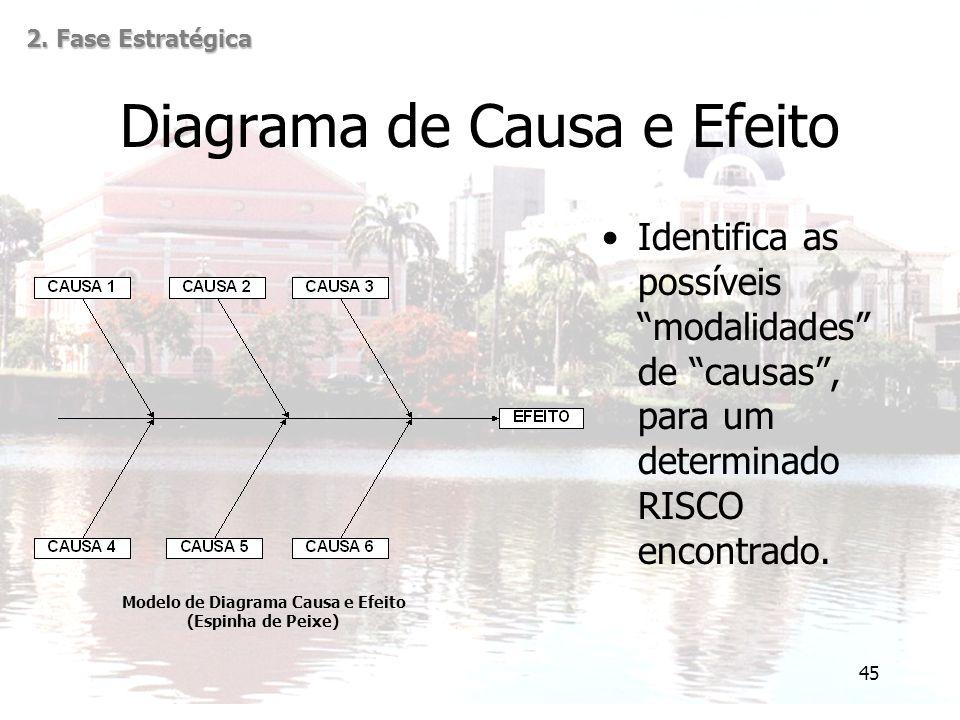 45 Diagrama de Causa e Efeito Identifica as possíveis modalidades de causas , para um determinado RISCO encontrado.